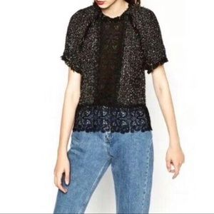Zara Woman Boucle and Lace Short Sleeve Top Size M